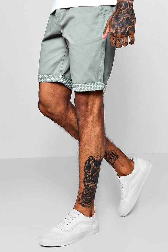 Skinny Fit Chino With Printed Turn Up