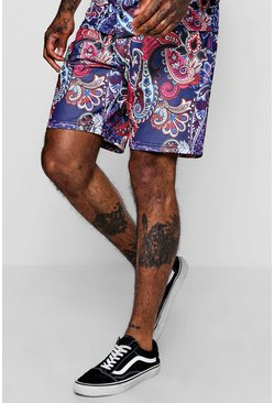 Mens Navy Paisley Print Short