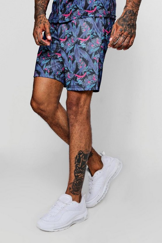 Mens Black Leaf Print Short