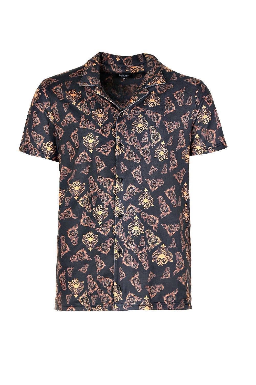 de negro cuello manga solapa corta barroco camisa de de Conjunto estampado con y Ox7q0nw