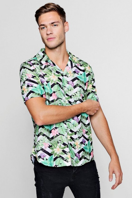 Mens Green Floral Chevron Short Sleeve Revere Shirt