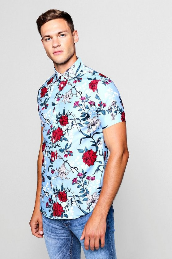 Mens Grey Wild Floral Print Short Sleeve Shirt