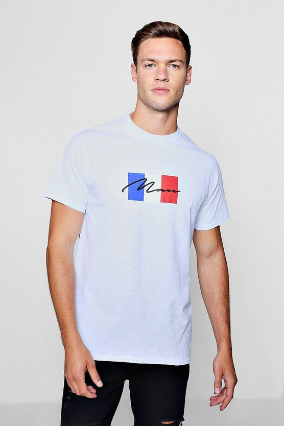 French Flag T-Shirt With MAN Puff Print