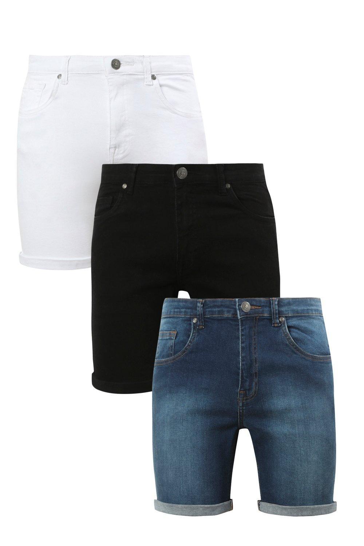 3 Pack Denim Shorts In Skinny Fit