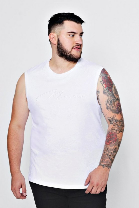 T-shirt a coste con scritta MAN ricamata senza maniche Big And Tall