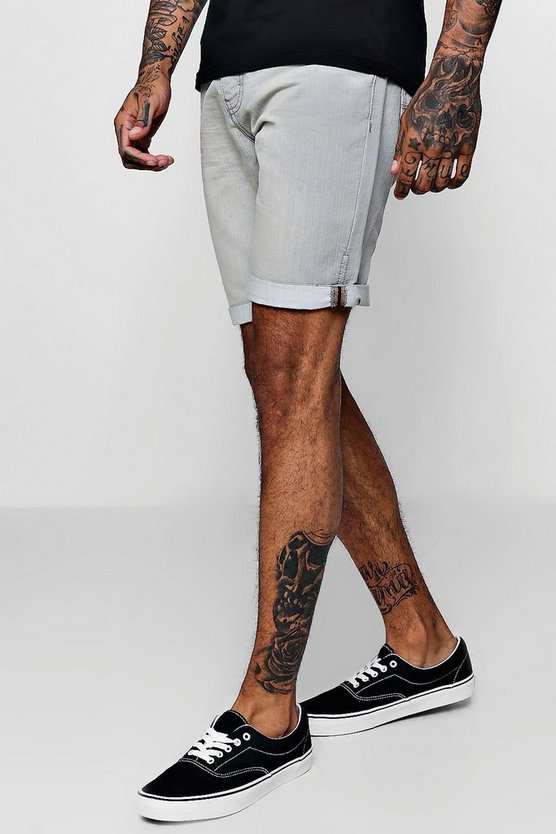 Mens Pale grey Slim Fit Denim Shorts With Turn Up