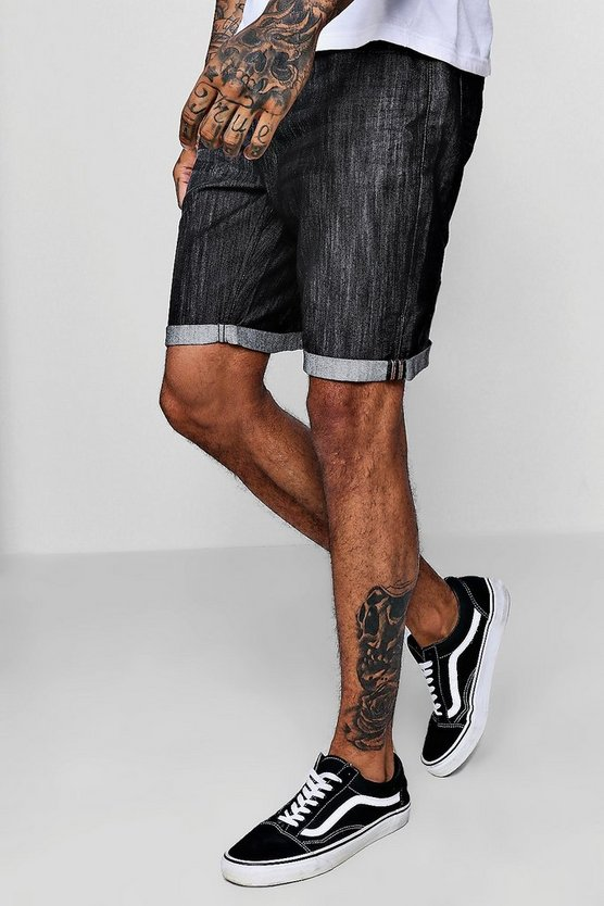 Black Slim Fit Denim Shorts With Turn Up