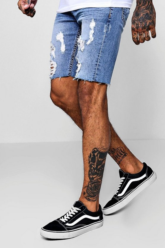 Mens Washed blue Stretch Skinny Fit Distressed Denim Shorts