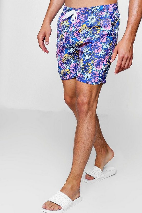 Bright Leaf Print Mid Length Swim Short