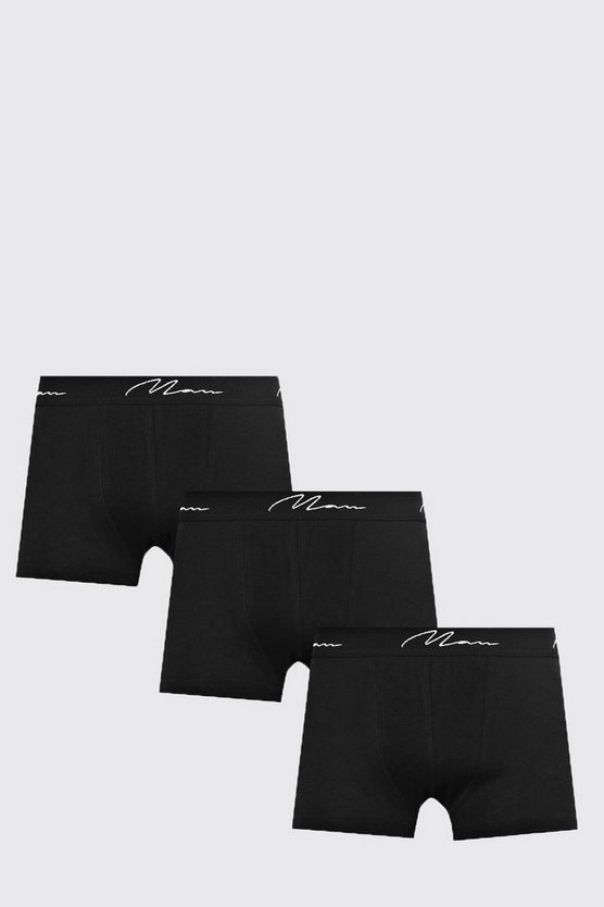 Mens Black 3 Pack Basic Man Trunks In Black
