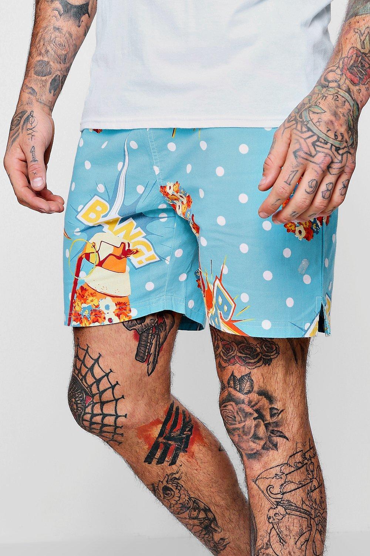 ajustable azul tejido claro Pantalones con y cordón cortos estampado qwPRBUfn