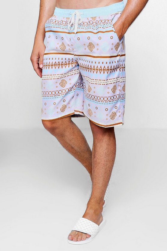 Aztec Print Swim Short