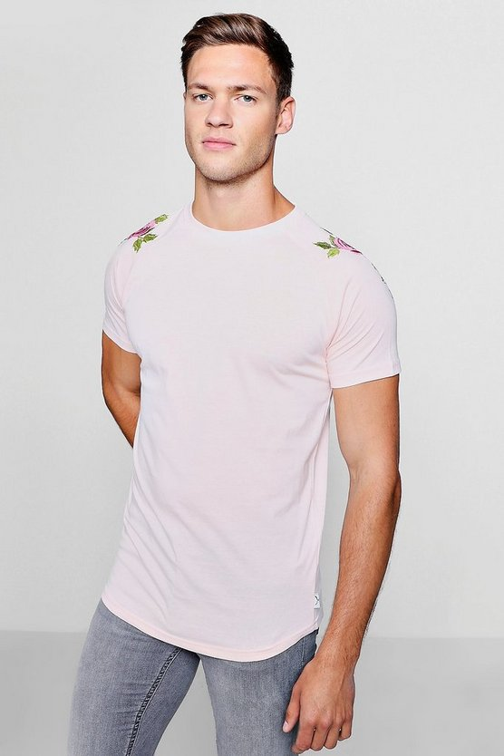 Raglan Curve Hem T-Shirt With Floral Embroidery