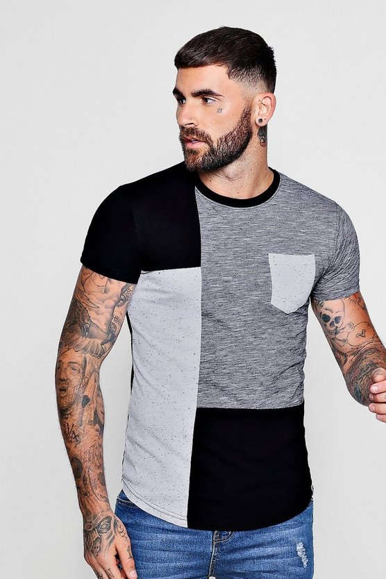 Mens Black Colour Block Space Dye T-Shirt