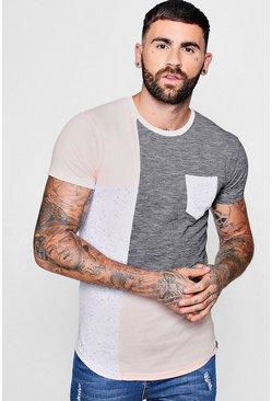 Mens Pink Colour Block Space Dye T-Shirt