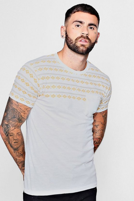 Tribal Print Pocket T-Shirt