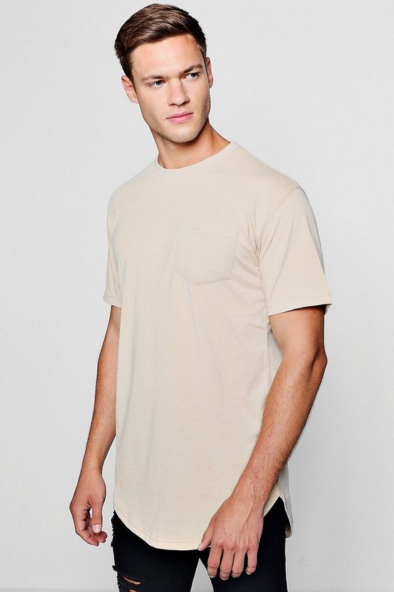 Mens Longline Biker Panel T-Shirt With Curve Hem