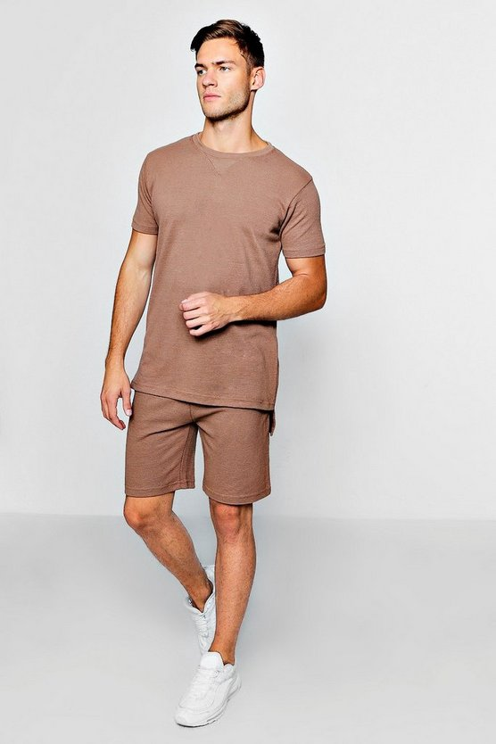 Mens Brown Pique Tee & Short Set