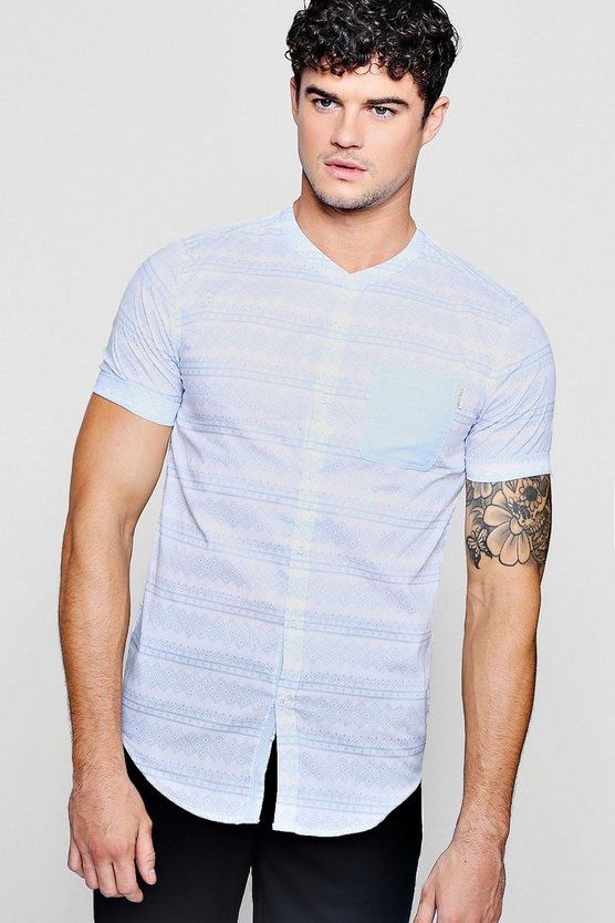 Mens White Aztec Print Short Sleeve Grandad Shirt