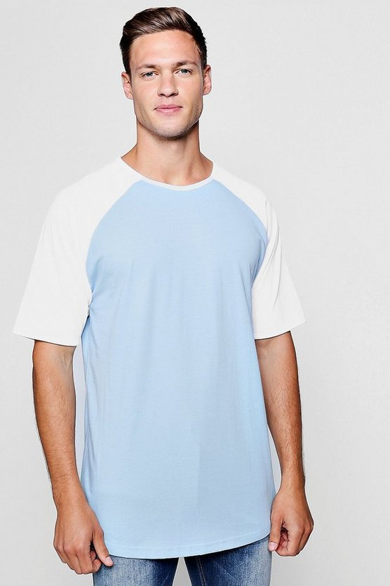Mens Light blue Longline Raglan Ringer With Curve Hem
