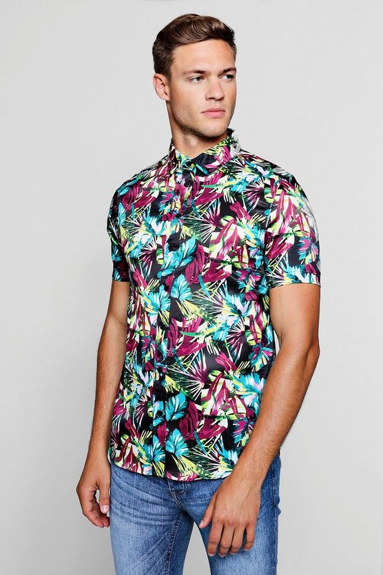 Bright Palm Print Short Sleeve Satin Shirt