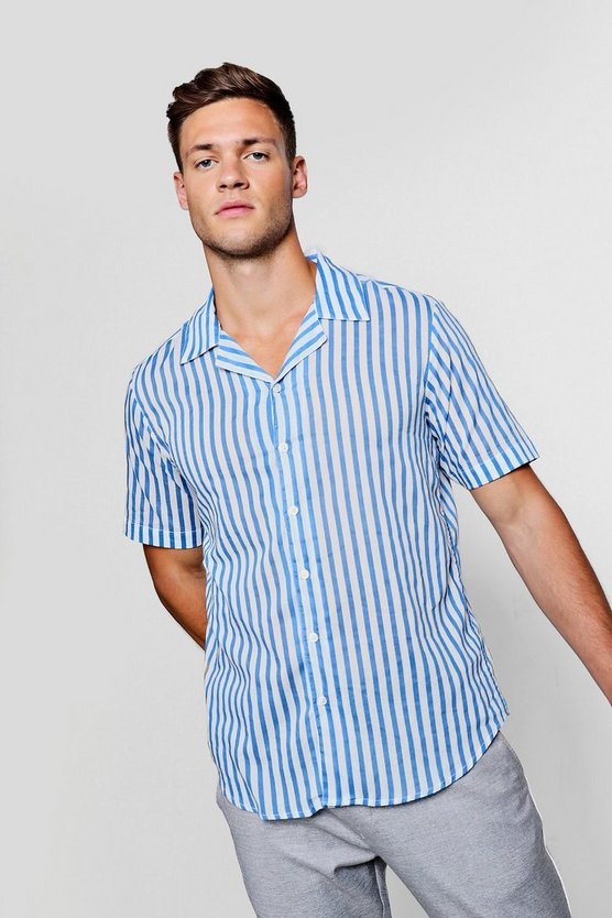Lightweight Stripe Revere Short Sleeve Shirt