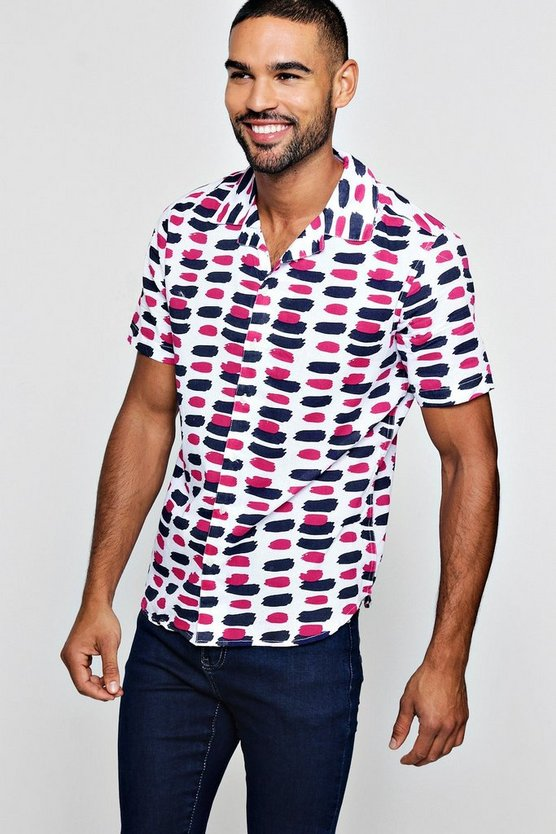 Mens Pink Paint Stroke Print Short Sleeve Revere Shirt