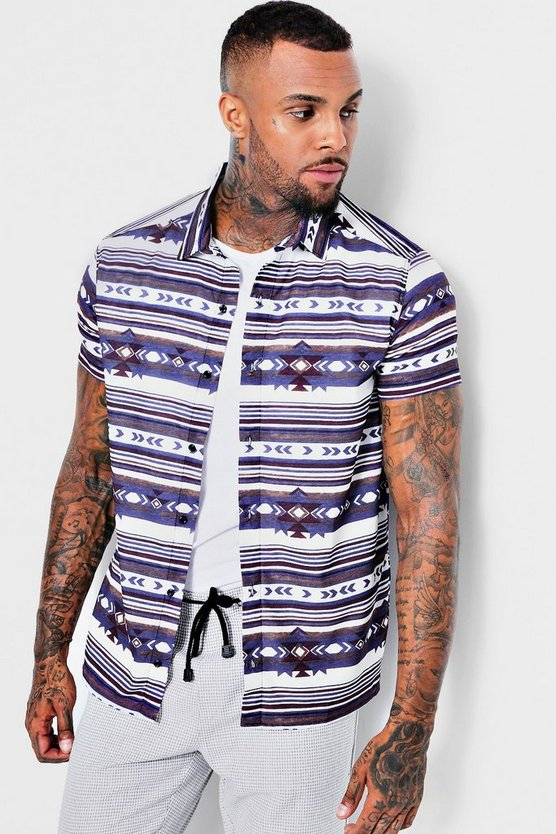 Short Sleeve Tribal Sateen Shirt