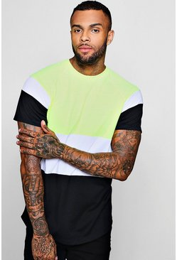 T-shirt raglan long colour block, Citron vert, Homme