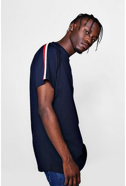 Mens Navy Longline T-Shirt With Sleeve Tape