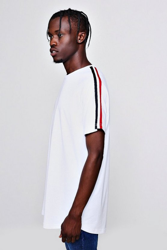 Longline T-Shirt With Sleeve Tape