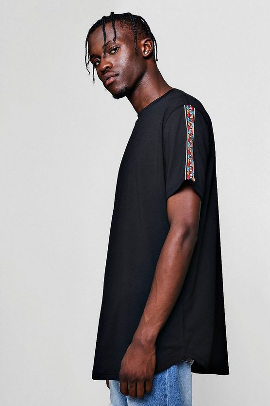 Black Longline T-Shirt With Aztec Tape