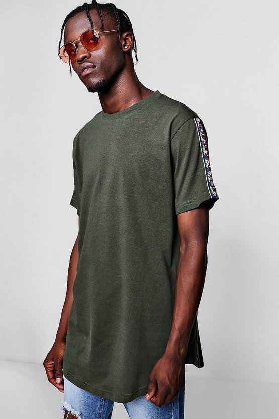 Longline T-Shirt With Aztec Tape