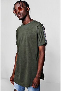 Mens Khaki Longline T-Shirt With Aztec Tape