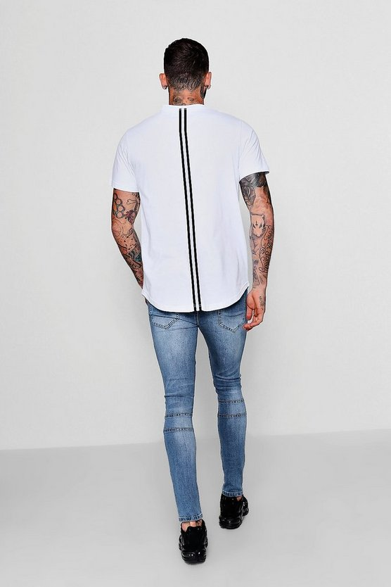 Longline T-Shirt With Back Tape