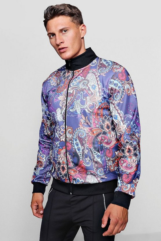 Mens Multi Paisley Print Track Top Jacket