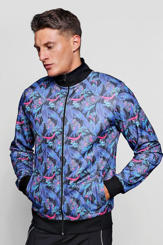 Tropical Feather Print Track Top Jacket
