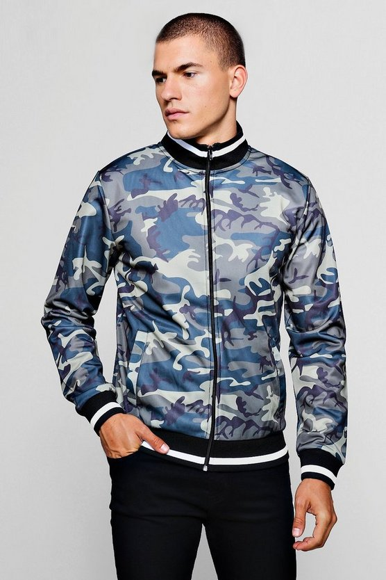 Tonal Camo Print Track Top With Sports Rib