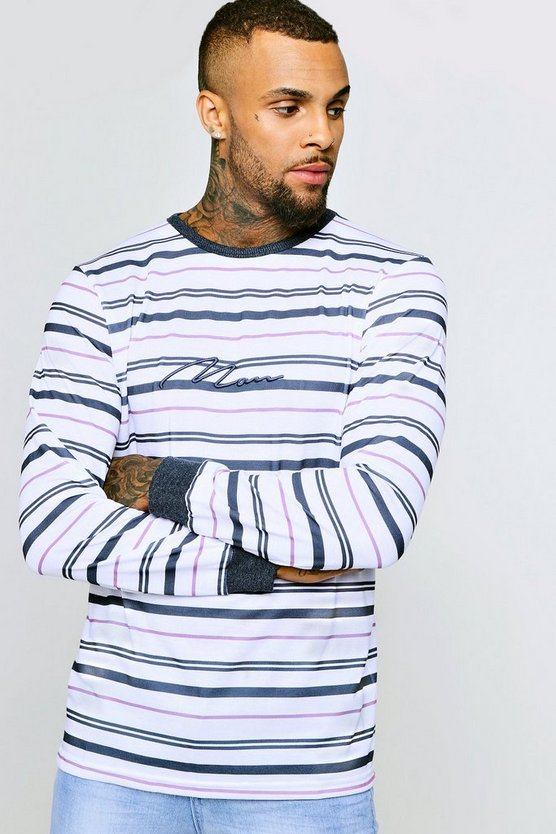 Mens White Long Sleeve MAN Embroidered Stripe Sweater