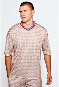 Mens Beige Drop Armhole MAN Repeat Print Tee/Short Set