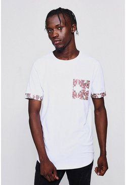 Mens White Muscle Fit Paisley Pocket Curved Hem T-Shirt