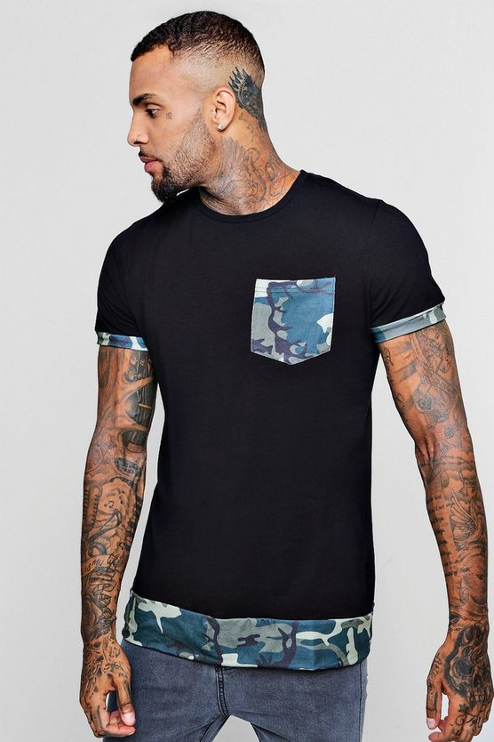 Longline T-Shirt With Camo Extended Hem