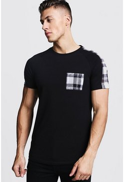 Black Check Panel Muscle Fit T-Shirt With Curve Hem