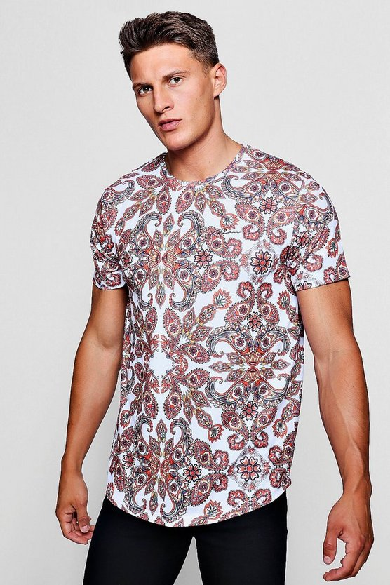 MAN Signature Paisley T-Shirt With Curve Hem