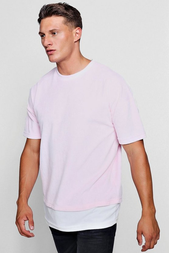 Drop Shoulder Extended Hem Velour T-Shirt