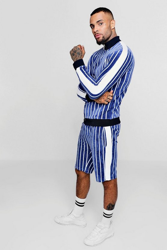 Striped Velour Panelled Short Tracksuit