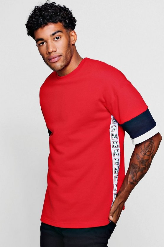 Emblem Taped Colour Block Short Sleeve Sweat
