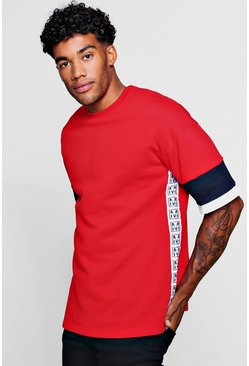 Mens Red Emblem Taped Colour Block Short Sleeve Sweat
