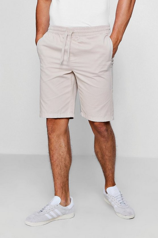 Stone Chino Short With Elasticated Waistband