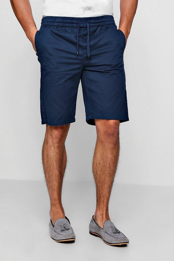 Mens Navy Navy Chino Short With Elasticated Waistband